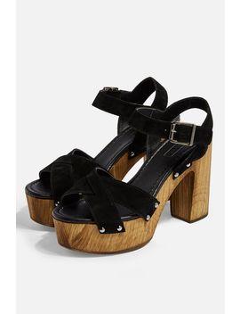 Vanessa Black High Clog Sandals by Topshop