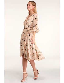 Love Song Blush Floral Print Ruffled Midi Dress by Lulus