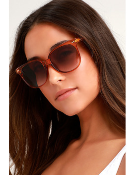 Eleanor Clear Rust Orange Sunglasses by Lulus