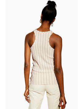 Stripe Knit Side Button Vest by Topshop