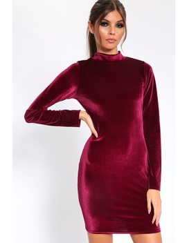 Burgundy Velvet High Neck Bodycon Mini Dress by I Saw It First
