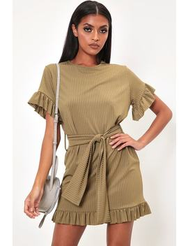 Khaki Jumbo Rib Tie Waist Frill Detail Dress by I Saw It First