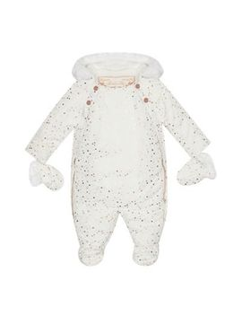 Baker By Ted Baker   Baby Girls' Off White Splatter Print Shower Resistant Snowsuit by Baker By Ted Baker