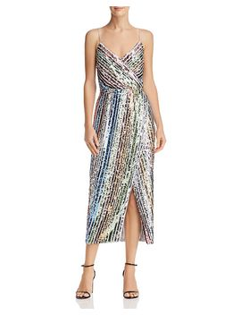Sequined Rainbow Stripe Dress by Saylor