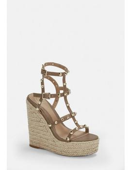 Taupe Dome Stud Wedges by Missguided