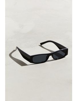 Thick Temple Narrow Rectangle Sunglasses by Urban Outfitters