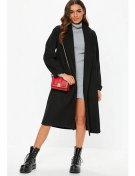 Black Shawl Collar Midi Coat by Missguided