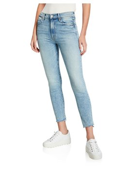 The Stunner Chewed Hem Ankle Skinny Jeans by Mother