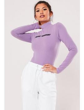 purple-new-wave-slogan-high-neck-bodysuit by missguided