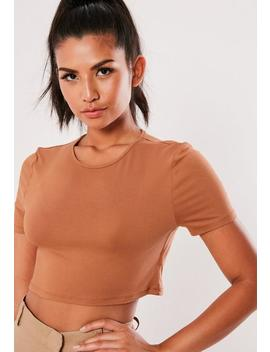 camel-cap-sleeve-crop-top by missguided
