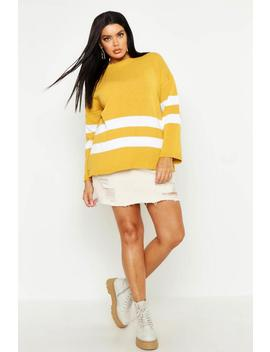 Plus Stripe Slouchy Oversized Jumper by Boohoo