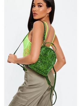 Green Mini Snake Print Backpack by Missguided