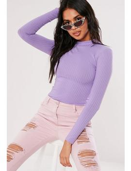 Purple Skinny Rib High Neck Top by Missguided