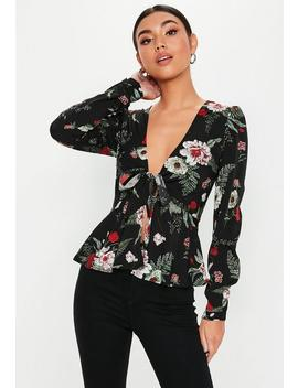 tall-black-tie-front-floral-blouse by missguided