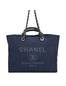 Deauville Navy Large Shopping Blue Canvas Tote by Chanel