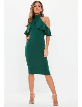 Green High Neck Frill Cold Shoulder Midi Dress by Missguided