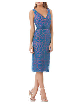 V Neck Sleeveless Lace Sheath Dress With Grosgrain Ribbon by Kay Unger New York