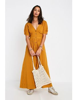 Uo Maisie Mustard Stripe Midi Dress by Urban Outfitters