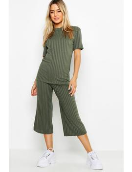 Petite Rib Oversized Culotte Co –Ord by Boohoo