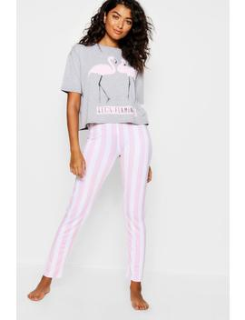 Lets Flamingle Stripe Pj Set by Boohoo