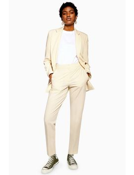 Cream Suit Trousers by Topshop
