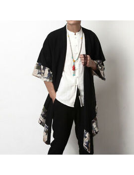 Mens Chinese Vintage Loose Japanese Kimono Yukata Jacket Cardigan Coat Hem Cape by Unbranded/Generic