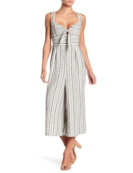 Striped Tie Front Linen Blend Jumpsuit by Abound