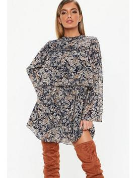 navy-high-neck-paisley-frill-smock-dress by missguided