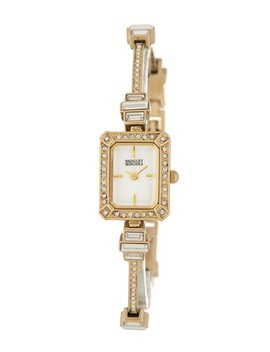 Women's Swarovski Crystal Rectangular Thin Bracelet Watch, 16mm by Badgley Mischka