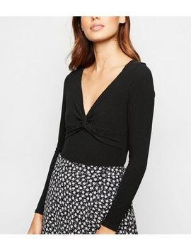 Black Twist Front Long Sleeve Bodysuit by New Look