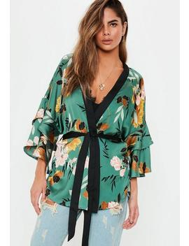 Teal Satin Floral Kimono Top by Missguided