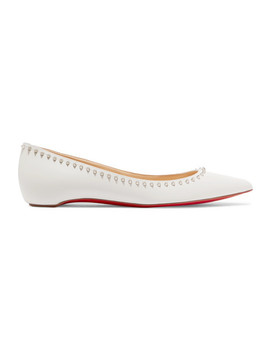 Anjalina Studded Leather Point Toe Flats by Christian Louboutin