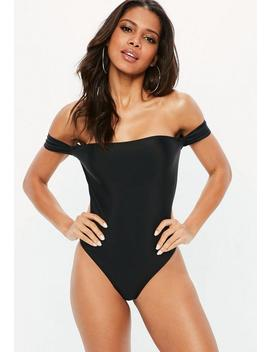 black-high-leg-double-strap-bardot-swimsuit by missguided