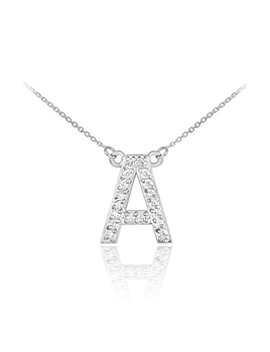 """Fine 14k White Gold Diamond Studded Initial Letter Pendant Necklace, 20"""" by Unknown"""