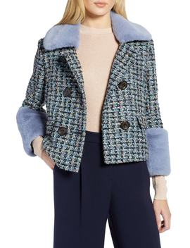 Tweed Jacket With Removable Faux Fur Trim by Halogen