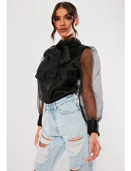 Black Organza Pussybow Blouse by Missguided
