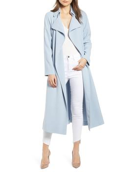 Side Slit Crepe Trench Coat by Kendall + Kylie