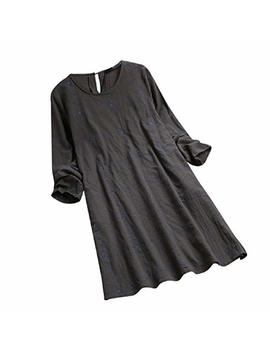 Otinice Womens Long Sleeve Casual Dress O Neck Plaid Pleated Vintage Loose T Shirt Dress Black by Otinice