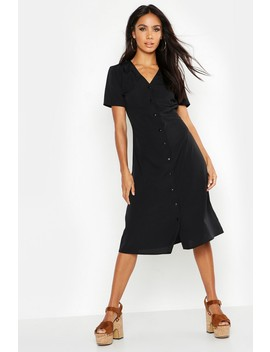 Button Through Midi Tea Dress by Boohoo