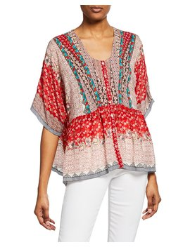 Zado Mixed Print Button Front Half Sleeve Blouse by Johnny Was