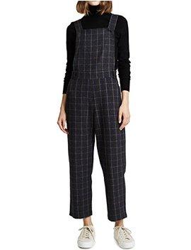 Richlulu Womens Plaid Flannel Slant Hip Pockets Strap Jumpsuit Overall by Richlulu