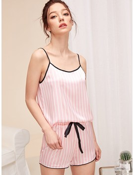Striped Satin Cami Top & Shorts Pj Set by Romwe