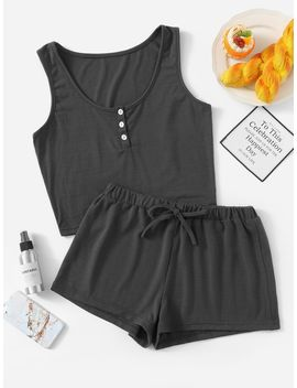 Button Front Tank Top & Shorts Pj Set by Romwe