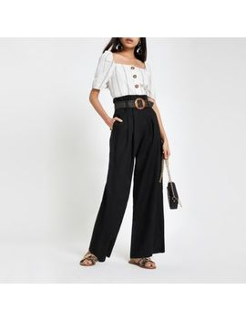 Black Linen Paperbag Waist Wide Leg Trousers by River Island