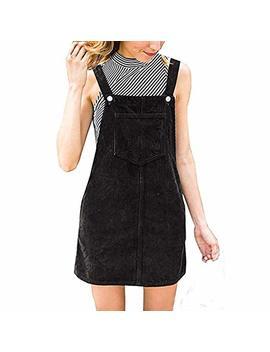 Doublelift Women Vintage Overall Dress Straps A Line Corduroy Bib Pocket Sleeveless Dresses by Doublelift