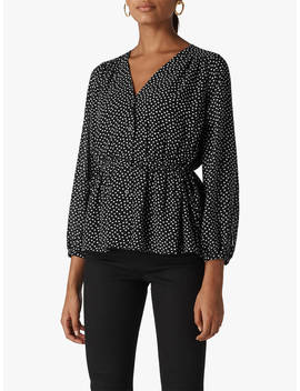 Whistles Confetti Heart Print Top, Black/White by Whistles