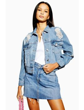 Petite Ripped Boxy Crop Denim Jacket by Topshop