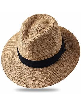 Furtalk Sun Hats For Men Women Wide Brim Havana Jazz Sun Protection Straw Panama Fedora Beach Hats by Furtalk