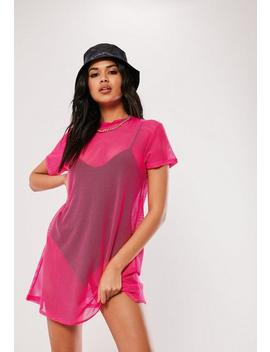 Neon Pink Oversized Fishnet T Shirt Dress by Missguided