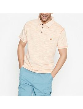 Mantaray   Big And Tall Orange Striped Space Dye Cotton Polo Shirt by Mantaray
